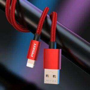 Pisen - lightning cable { aluminum alloy braided data - charging cable // 1-m length // 2.4 A maximum  } [ LH - AL19 - 1000 ]