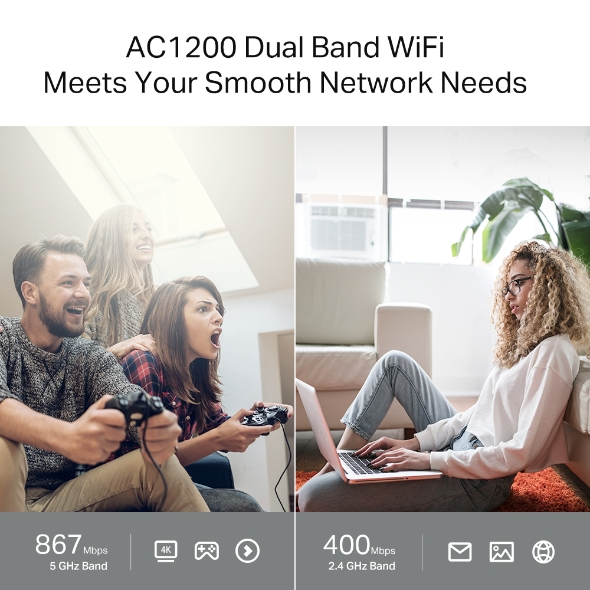 TP-link Archer c64 v1.0 { AC1200 Dual band // 867 Mbps 5GHz + 300 Mbps 2.4 GHz Advanced security with WPA3 Archer c64